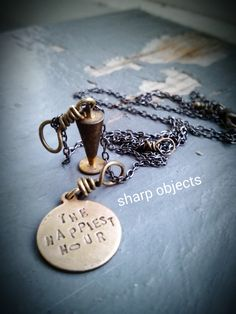 Happy Hour - miniature wine glass drink charm, stamped metalwork idiom tag, gunmetal chain NECKLACE by inkfinesse on Etsy