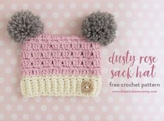 Dusty Rose Sack Hat - Free Crochet Pattern in 5 Sizes | www.thestitchinmommy.com