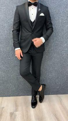 Men's Tuxedo Wedding, Black Suit Wedding, Wedding Dress Men, Best Wedding Suits For Men, Man Suit Wedding, Slim Fit Tuxedo, Slim Fit Suits, Tuxedo For Men, Blazer Outfits Men