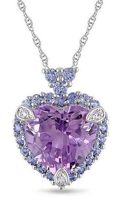 White Gold & Violet Tanzanite Heart Pendant Necklace