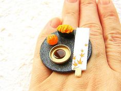 Sushi in Japan - Miniature Food Ring : Sushi Ring on Etsy 寿司 http://www.etsy.com/listing/96684194/kawaii-sushi-ring-miniature-japanese   kawaiigoodsjapan