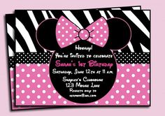 Minnie Mouse Birthday Invitations - Commerically Printed