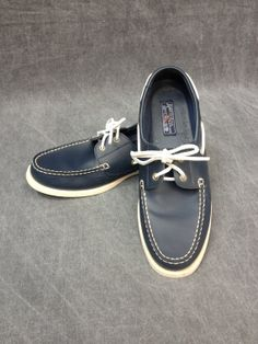 80's American Living Leather Navy Blue Boat by ElkHugsVintage, $50.00