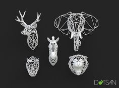 3D Printed Animal Heads by Dot San, via Flickr