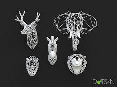 3D cabezas de animales impresos por Dot San, a través de Flickr