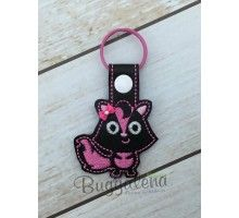 Skunk Key Fob Embroidery Design With Snap Tab