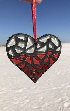 Mosaic Heart Ornament Heart Mother's Day Gift Red Ombre
