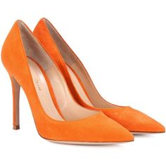 Gianvito Rossi Gianvito 105 Suede Pumps (2 605 PLN) ❤ liked on Polyvore featuring shoes, pumps, heels, high-heel, orange, heel pump, gianvito rossi shoes, orange shoes, suede pumps and suede leather shoes