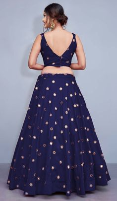 Mehendi Sangeet Blue color Lehenga in Taffeta Silk fabric with Mirror work Indian Gowns Dresses, Indian Fashion Dresses, Indian Designer Outfits, Designer Dresses, Indian Outfits, Fashion Outfits, Party Wear Lehenga, Silk Lehenga, Bridal Lehenga