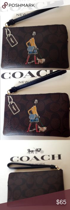 PRICE DROP!❤NWT Coach Bonnie Cashin Wristlet New with tags Bonnie Casin limited edition Coach signature PVC corner zip wristlet/black/brown. Gold hardware with black leather trim. Inside blue lining with two credit card pockets. No Trades F57586 Coach Bags Clutches & Wristlets