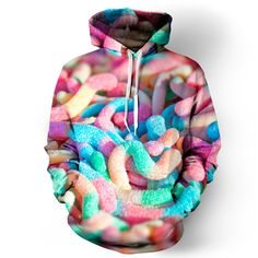 Beloved Shirts Sour Worms Hoodie - Premium All Over Print Graphic Hoodies Rave Outfits, Cool Outfits, Beloved Shirts, Trendy Hoodies, Punk, Rave Wear, Hoodie Dress, Cool Sweaters, Festival Outfits