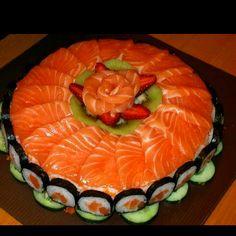 A sushi & sashimi birthday cake!