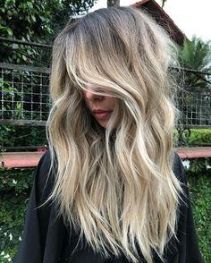 Rooty Beige-Blonde Balayage for Thick Wavy Dark-Blonde Hair