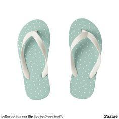 polka dot fun sea flip flop kid's flip flops; adult sizes too; summer sandals, beach, ocean shoes