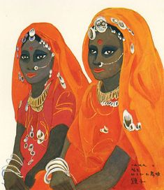 (Korea) Two Dancers of Agra,1979 by Chun Kyung-ja (1924-2015). 천경자