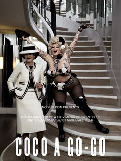 Coco Chanel with Burlesque star Dirty Martini, styled by Karl Lagerfeld <3