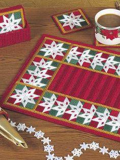 Plastic Canvas - Patchwork Snowflakes Table Set - #EHP0338