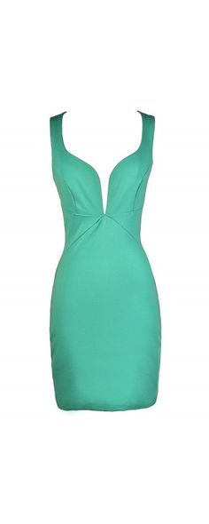Taking The Plunge Fitted Bodycon Dress in Mint  www.lilyboutique.com