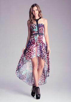 Hi-Lo Printed Flowy Dress