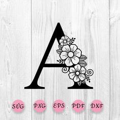 Flower Alphabet, Flower Letters, Flower Frame, Monogram Fonts, Monogram Letters, Zentangle, Motif Floral, Letter B, Craft Patterns