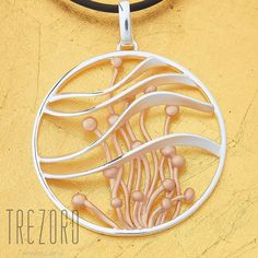 Large 925 silver pendant with gold plated elements. If you don't know what plant Posidonia Oceanica is, it's quite easy to guess that it's. Sterling Silver Chains, Sterling Silver Pendants, Rose Gold Plates, Silver Plate, Bottom Of The Ocean, Leather Cord, Botanical Gardens, Shops, Plant