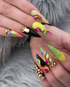 with ・・・ Pride nails 😍 if I could have chosen to be Gay or Straight, I think I would have simply chosen to be… Best Acrylic Nails, Acrylic Nail Designs, Nail Art Designs, Glam Nails, Bling Nails, Nagellack Design, Exotic Nails, Fire Nails, Luxury Nails