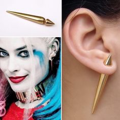 Harley Quinn Cosplay's Screen Accurate Long Gold Spike Faux Gauge Earring. Fake Gauge Earring. Suicide Squad. Harley Quinn costume. Harley Quinn cosplay. Punk earring