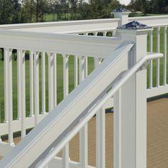 deckorail white secondary handrail installed on deck