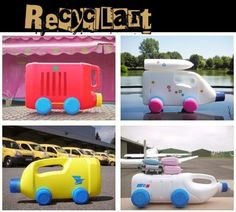 Recycled plastic bottles into cars and trucks craft-ideas Reuse Plastic Bottles, Plastic Bottle Crafts, Recycled Bottles, Empty Bottles, Projects For Kids, Diy For Kids, Craft Projects, Crafts For Kids, Craft Ideas