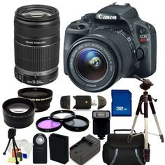 Canon EOS Rebel SL1 18.0 MP CMOS Digital SLR Kit with 18-55mm EF-S IS STM Lens & Canon EF-S 55-250mm f/4-5.6 IS II Lens. Includes: 0.45X Wide Angle Lens + 2X Telelphoto Lens + 3 Piece Filter Kit (UV-CPL-FLD) + 32GB Memory Card + Card Reader + Slave Flash + Wireless Remote + Extended Life Replacement Battery + Charger + Full Size Tripod + Carrying Case + Deluxe Starter Kit Sunset Electronics Bundle