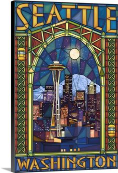 Wine Bottle Wall, Wine Bottles, Seattle Washington, Washington State, Glass Wall Art, Sign Printing, Vintage Travel Posters, Stained Glass Windows, Sculpture