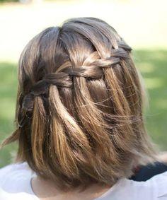 Short Hair Braids Waterfall