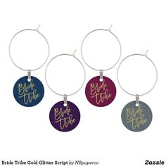 Bride Tribe Gold Glitter Script Wine Glass Charm