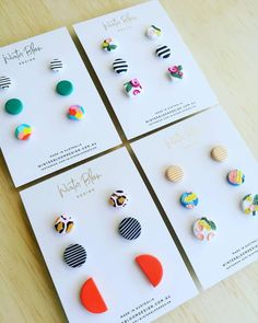 Stud packs heading to Design A Space Windsor store arriving in store Friday or simply email the store windsor to secure… Fimo Clay, Polymer Clay Projects, Polymer Clay Jewelry, Diy Clay Earrings, Diy Earrings Studs, Keramik Design, Bijoux Diy, Ceramic Jewelry, Clay Charms