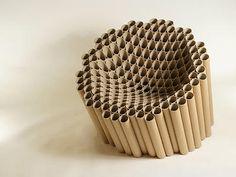 cardboard_tube_chair by Matthew Laws - photo via Art & Design fb page Cardboard Chair, Cardboard Design, Cardboard Tubes, Cardboard Crafts, Cardboard Furniture, Cool Furniture, Furniture Design, Karton Design, Chair Design