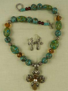 Chunky  Brown Mosaic Turquoise Cross  by DesignsofFaithandJoy, $29.00