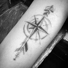 40 Geometric Arrow Tattoo Designs For Men - Sharp Geometry Ideas Geometric Arrow Tattoo, Arrow Tattoo Design, Mens Arrow Tattoo, Simple Arrow Tattoo, Geometric Tattoo Design, Arrow Design, Arrow Tattoos, New Tattoos, Tattoos For Guys