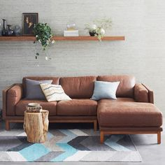 Dekalb Premium Leather 2-Piece Chaise Sectional | west elm.  Damn, I want this couch.