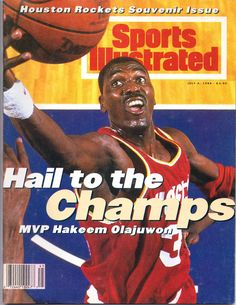 MVP of the NBA Finals - Houston Rockets Hakeem Olajuwon on the cover Houston Rockets Basketball, Nba Basketball Teams, Basketball Stuff, Hakeem Olajuwon, Sports Illustrated Covers, Larry Bird, Detroit Pistons, Dallas Mavericks, Oklahoma City Thunder