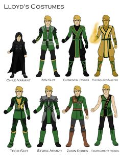 """Lloyd's costumes. I added the Golden Ninja, since Lloyd doesn't have a Ninja or Dragon suit. I'm going to draw Jay next, then Garmadon and Wu. Ninja Suit, Lego Ninjago Lloyd, Ninjago Cole, Arte Ninja, Ninjago Memes, Fanarts Anime, Fandoms, Lego Movie, Cultura Pop"