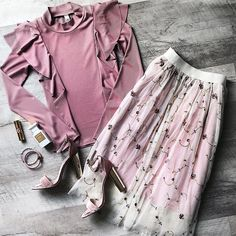 Valentines outfit, flat lay, spring outfit, pink, heels, tulle skirt, JessaKae, valentines