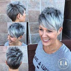 Spiky Gray Balayage Pixie For Women Over 50 - Kurzhaarfrisuren Short Pixie Haircuts, Short Hairstyles For Women, Cool Hairstyles, Grey Haircuts, Hairstyles 2018, Haircut Short, Short Hair Cuts For Women Over 50, Layered Haircuts, Medium Hairstyles