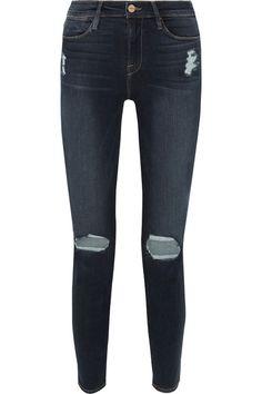 FRAME - Le High Distressed Skinny Jeans - Mid denim - 31