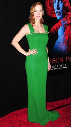 JESSICA CHASTAIN stuns in a shamrock-green Lanvin gown and Piaget jewels at the premiere of Crimson Peak in N.Y.C