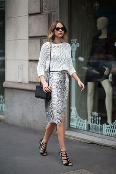 Snakeskin pencil shirt paired with a mesh sweater. Love the black bag and shoes to really make that print pop!