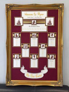 Ornate Framed Disney Table Plan in Gold & Maroon Wedding Events, Our Wedding, Wedding Disney, Disney Weddings, Wedding List, Wedding Ideas, Trendy Wedding, Dream Wedding, Disney Table Plan
