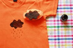 potato printing for kids clothes