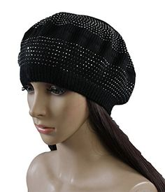 ad9e4b50b5ede Womens Fashion Winter Warmer Knit Beret Hats Solid Color Beanie Hats (Jewel  Black 3)