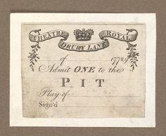 18th Century Entertainment Ephemera - Ticket of Drury Lane Theatre, 1778