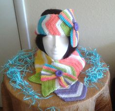 Pretty Hello Spring Crochet Scarf Set with by MJCrochetCre8tions